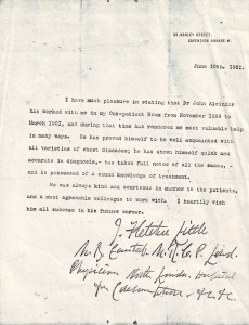 Alcindor letter 1901