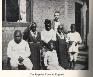 Hoffman (rear) and the Congo pygmies probably 1906