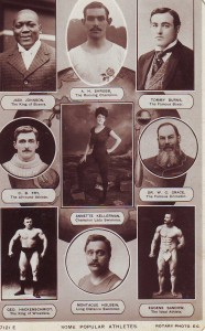 Johnson, top left, with other sports personalities of the 1910s