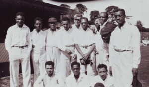 The Africs, late 1920s. Brown (in cap) 3rd from left between Vivian Harris from St Lucia or Antigua and G R Marcano (to Brown's left) from Trinidad who practiced in East Ham.