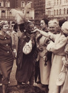 with Dutch models, London, 14 May 1957